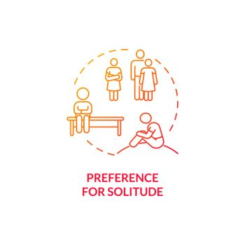 Preference for solitude in autism concept icon