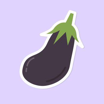 Vector pastel eggplant food sticker clipart