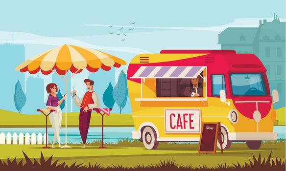 Street Cafe Bus Composition