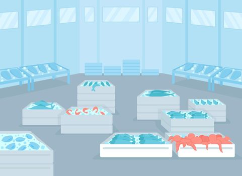 Wholesale seafood facility flat color vector illustration