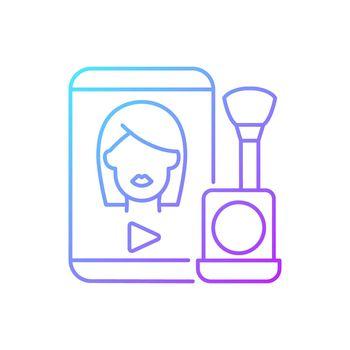 Make up tutorial videos gradient linear vector icon