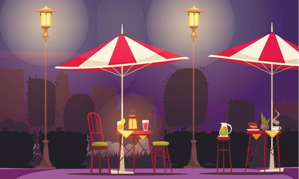 Street Cafe Night Composition