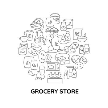 Convenience store food abstract linear concept layout with headline