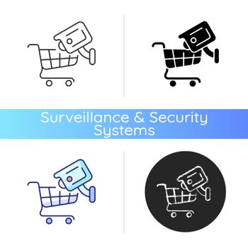 Tracking customers with surveillance camera icon