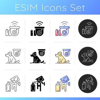 Surveillance system icons set