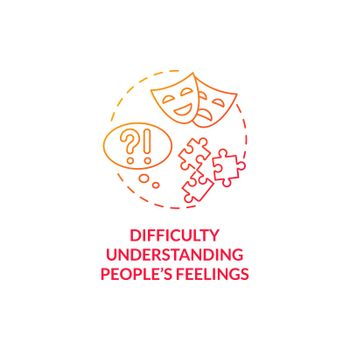 Difficulty understanding people feelings concept icon