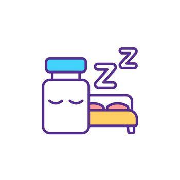 Pills for sleep disorder RGB color icon