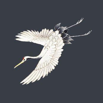 Vintage Japanese crane vector illustration, remixed from public domain artworks