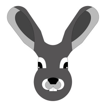 Hare snout geometric vector on white background. Gray hare.