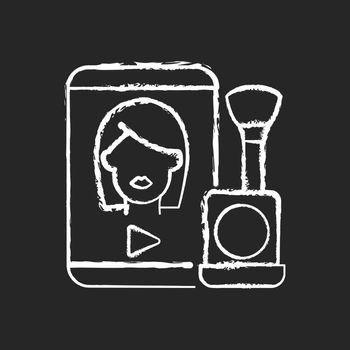 Make up tutorial videos chalk white icon on dark background