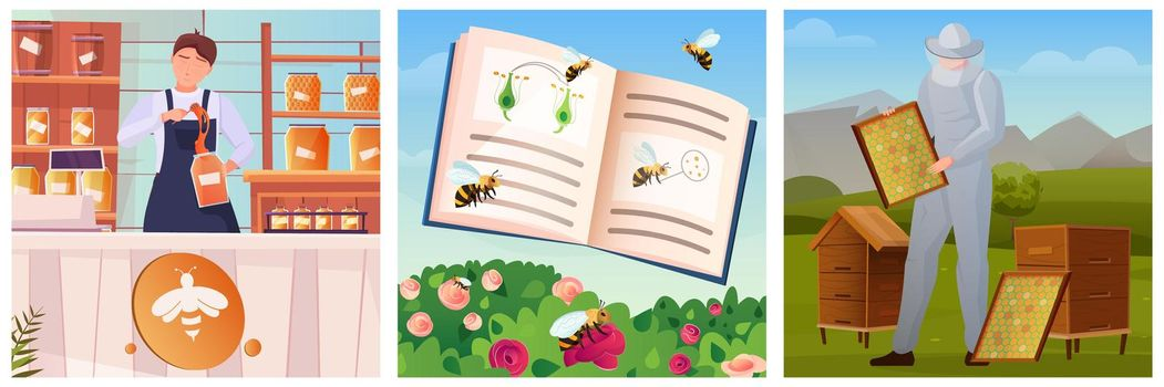 Beekeeping Flat Illustrations