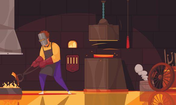 Blacksmith Workshop Cartoon Composition