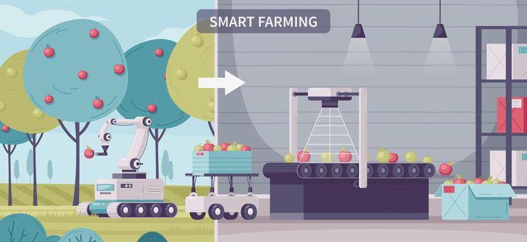 Smart Farming Cartoon Composition