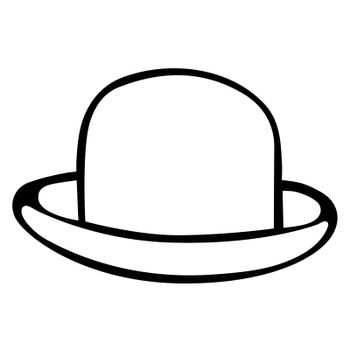 Hat with brim hand drawn isolated vector illustration on white background