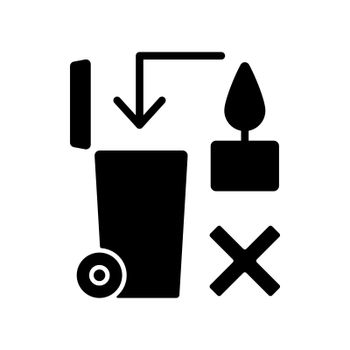 Never throw hot wax in trash bin black glyph manual label icon