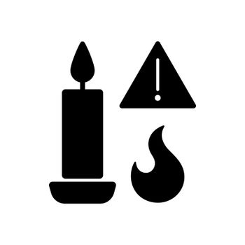 Fire danger from candles black glyph manual label icon