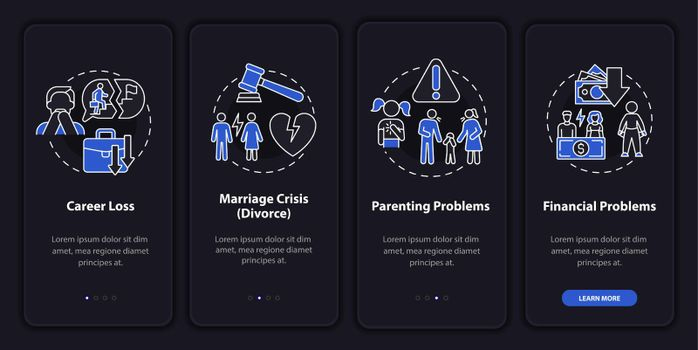 Parenting problems onboarding mobile app page screen