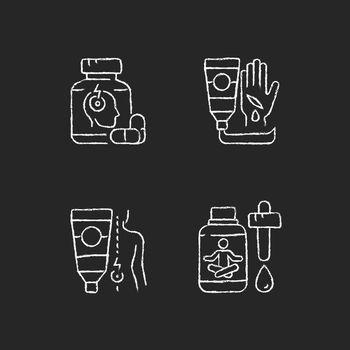 Survival first aid kit chalk white icons set on dark background