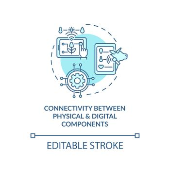 Connectivity between physical and digital components concept icon