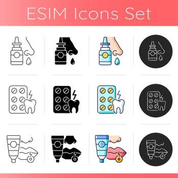 Survival first aid kit icons set