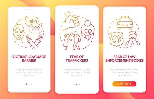 Human trafficking survivor onboarding mobile app page screen