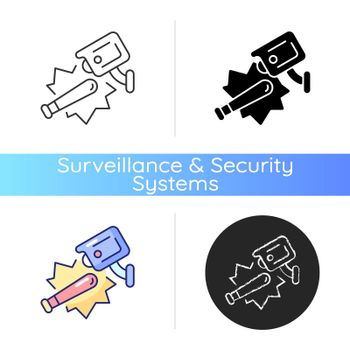 Public safety with video surveillance icon