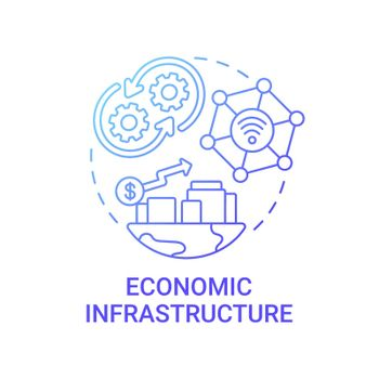 Economic infrastructure gradient blue concept icon