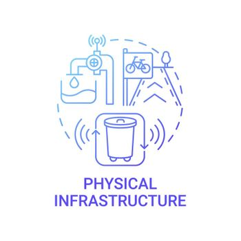 Physical infrastructure gradient blue concept icon