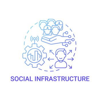 Social infrastructure gradient blue concept icon
