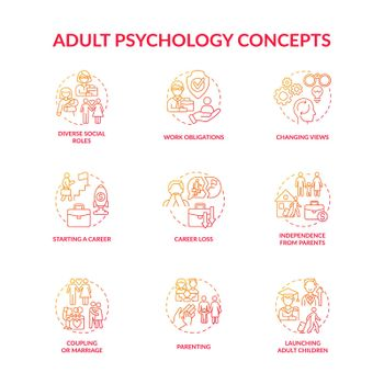 Adulthood psychology and social relationship concept icons set