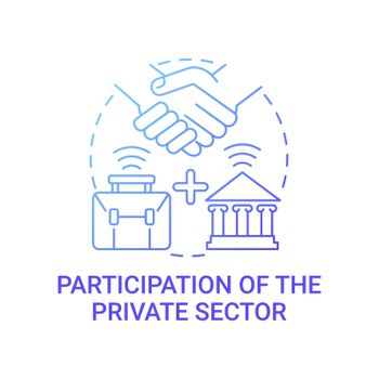 Participation of private sector gradient blue concept icon