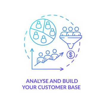 Analyse and build customer base blue gradient concept icon