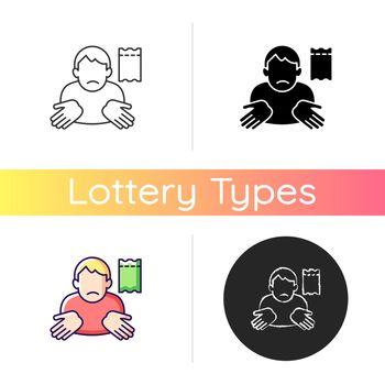 Winning lottery ticket loss icon
