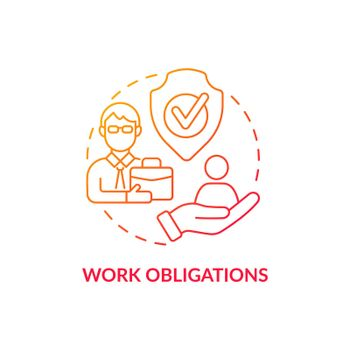 Work obligations red concept icon