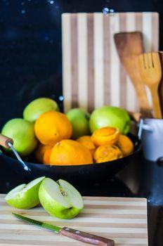 Seasonal fruits in the kitchen