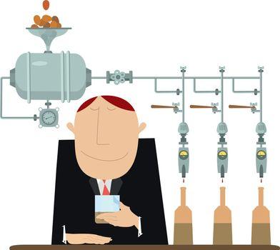 Alcoholic beverage manufacture and taster man illustration
