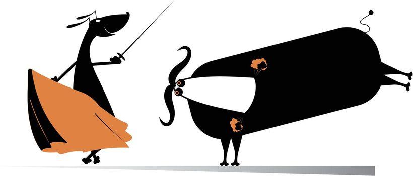 Dog bullfight cartoon illustration