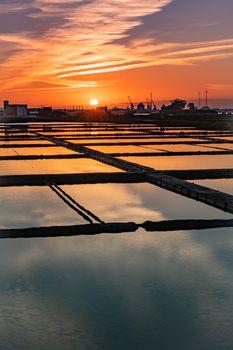 Salt flats of Aveiro at sunset