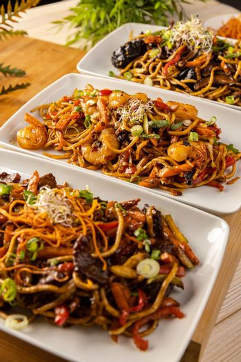 Spicy Chinese stir fry noodles.