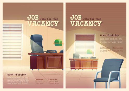 Job vacancy cartoon posters, we are hiring concept