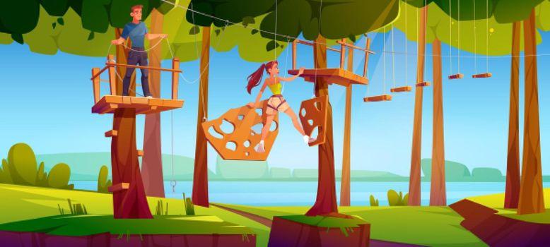 Adventure park rope ladder illustration