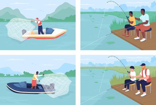 Recreational fishing flat color vector illustrations set