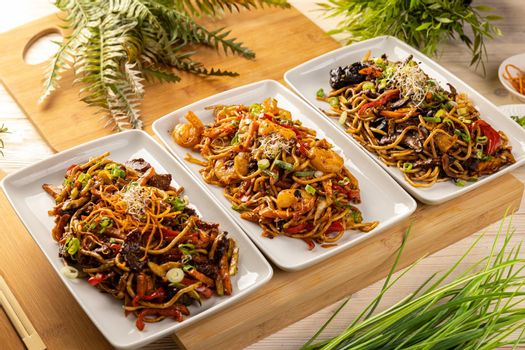 Asian food dishes.