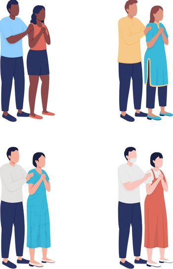 Parents worry about child semi flat color vector characters set