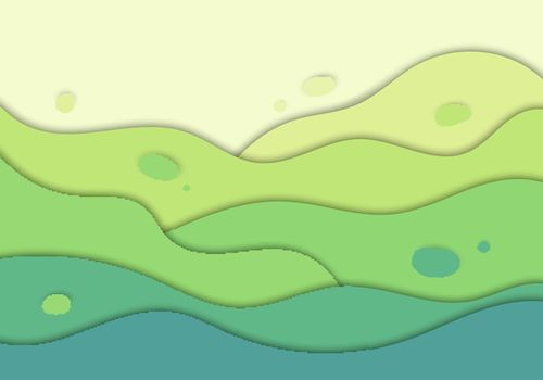 Abstract green nature wave carve background design concept paper art style