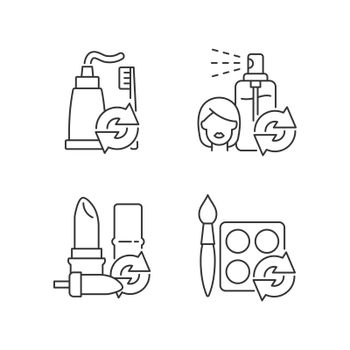 Refill and reuse linear icons set