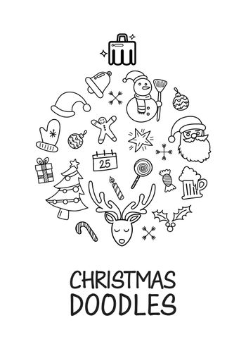 Christmas doodles elements laid out in shape of christmas ball poster