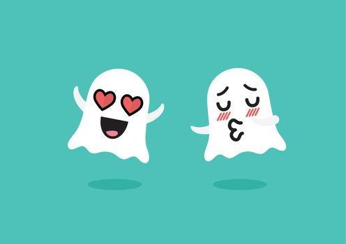 Couple ghosts emoji character