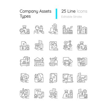 Business assets linear icons set