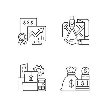 Assets management linear icons set